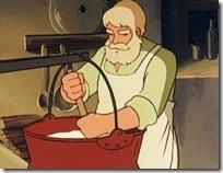 El abuelo haciendo queso
